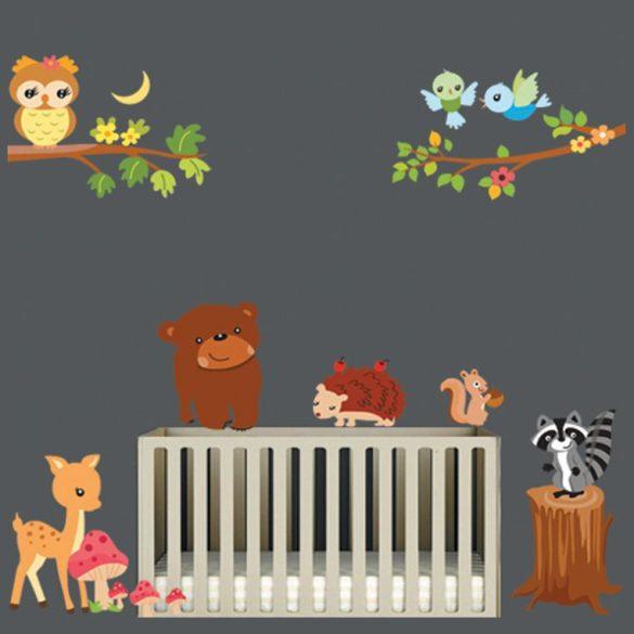 Állatok az erdőben falmatrica