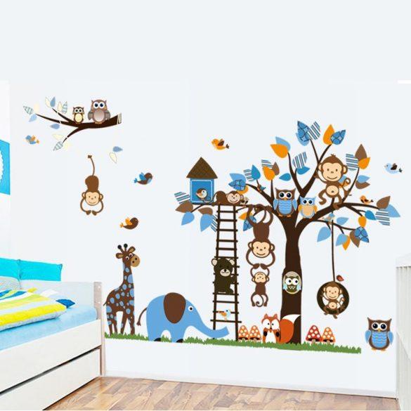 Állatkerti állatok fája falmatrica