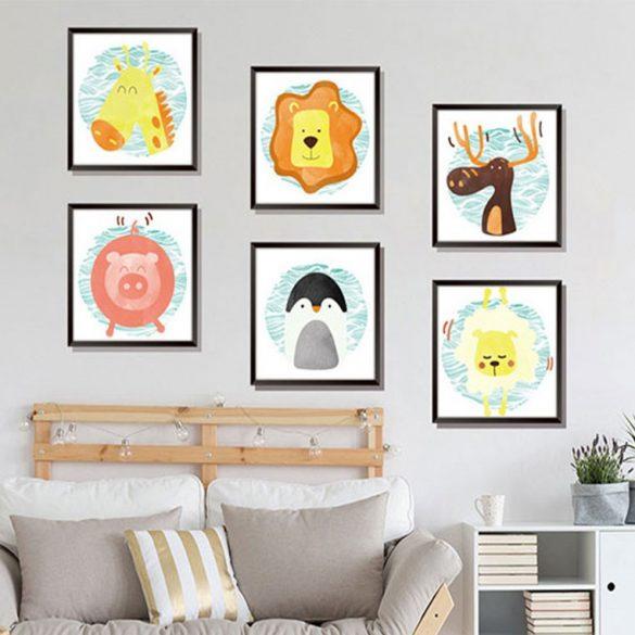 Állatkák 6 képet alkotó falmatrica