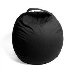 Plüss tároló babzsák fotel - Fekete - MAXI