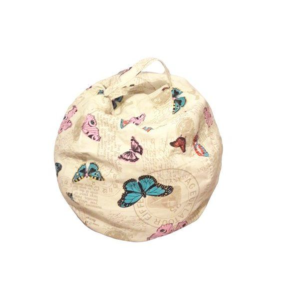 Plüss tároló babzsák fotel - Pillangókkal - MINI