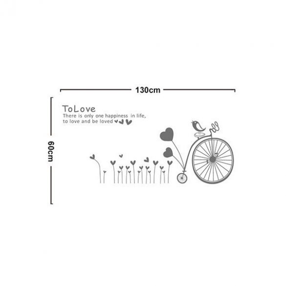 Bicikli a szivecskék mezején falmatrica