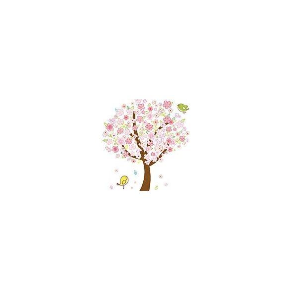 Barackvirágfa kismadárral gyerekszoba falmatrica