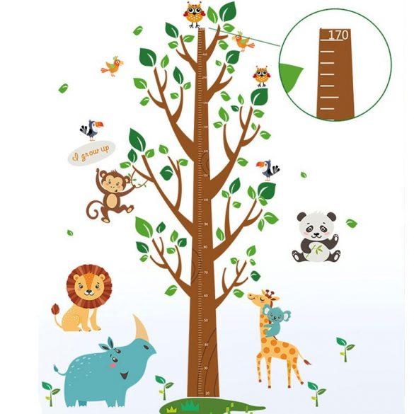 Dzsungel állatai magasságmérő falmatrica