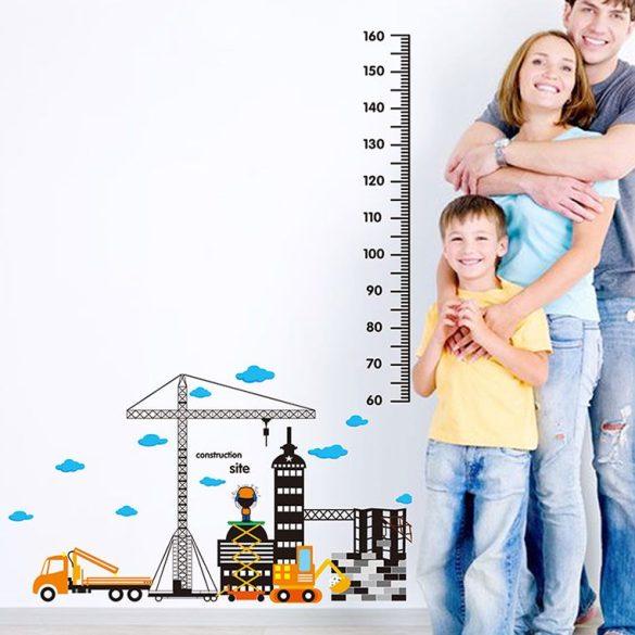 Darus, munkagépes építkezés magasságmérő falmatrica