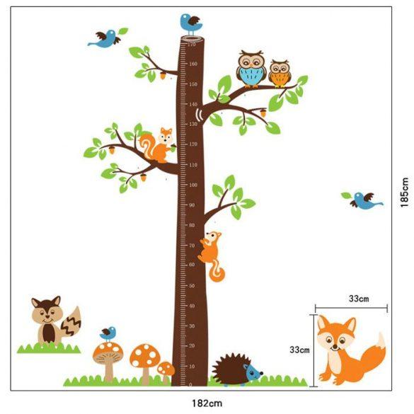 Erdei fa mókusokkal, rókával magasságmérő
