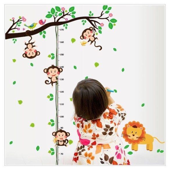 Játékos majmok liánon magasságmérő falmatrica