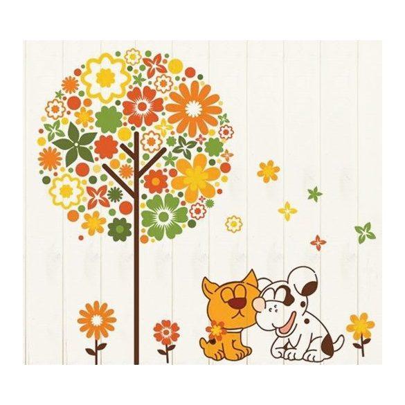 Kutya cica barátság falmatrica