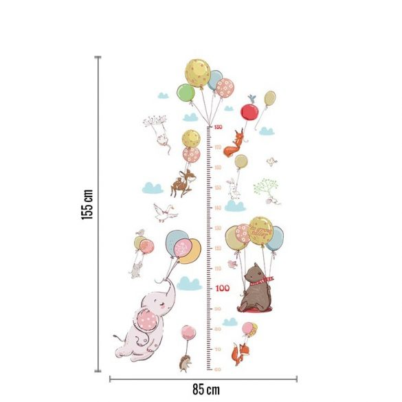 Kiselefánt lufikkal paszteles magasságmérő
