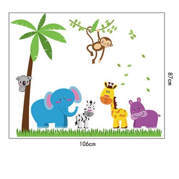 Mosolygós állatok a dzsungelben falmatrica