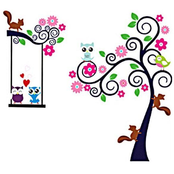 Mókusok, baglyok fái falmatrica