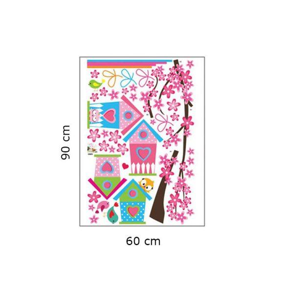 Madáretetők cseresznyefaágon falmatrica