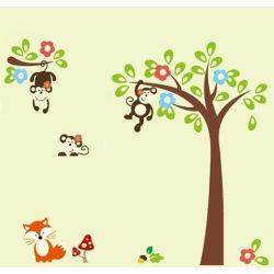Majmok fái gyerekszoba falmatrica