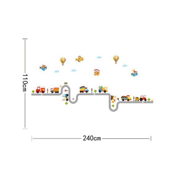 Munkagépek, hőlégballonok falmatrica