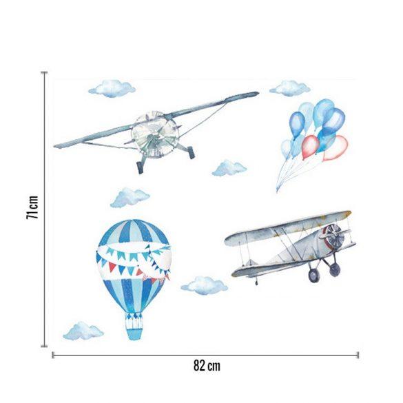 Pasztell repülőgépek és hőlégballon falmatrica