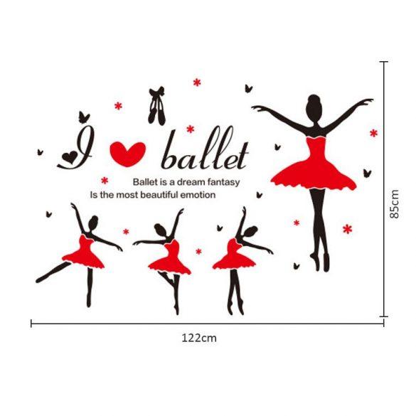 Piros tütüs balerinák falmatrica