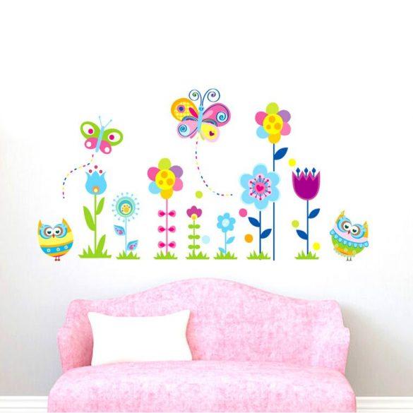 Pillangók, virágok és baglyok falmatrica