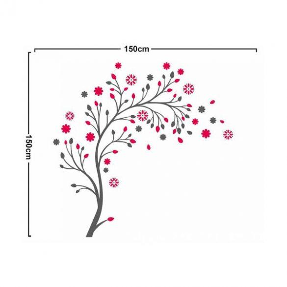 Pink virágos fa falmatrica