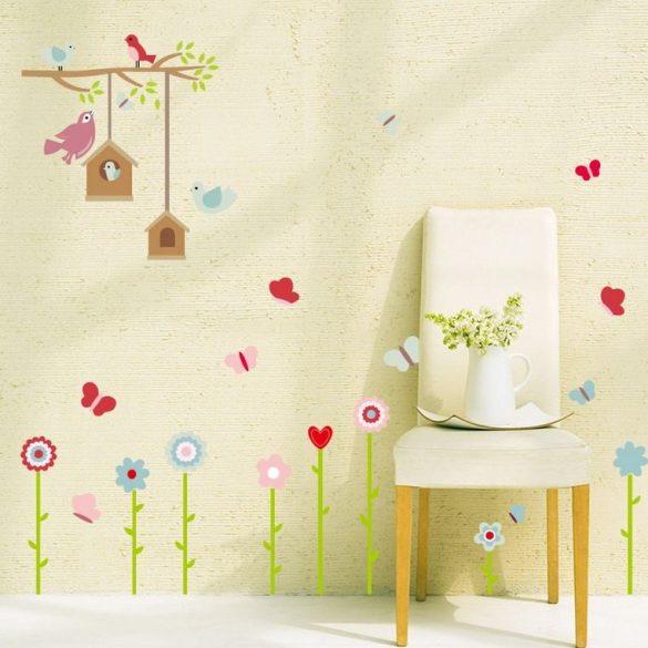 Pasztell virágok madáretetővel falmatrica