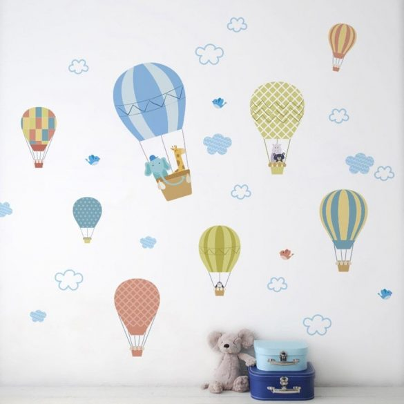 Sok hőlégballon pasztell színekben falmatrica