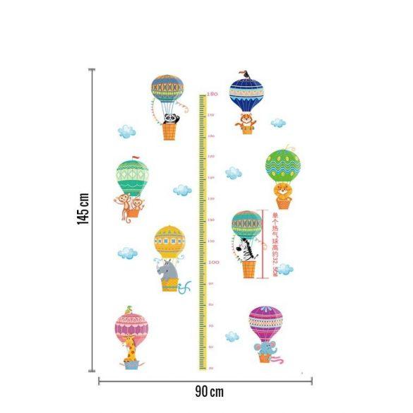 Színes hőlégballonok magasságmérős falmatrica