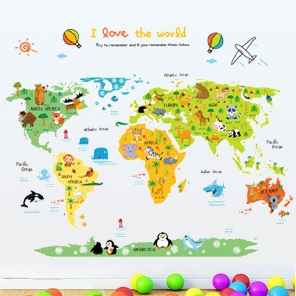Utazás a világ körül térképes falmatrica