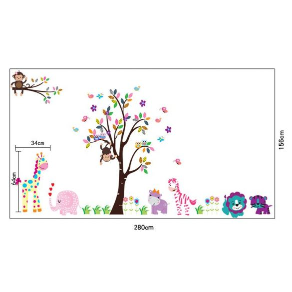 Vidám, virágos fa elefánttal, zsiráffal, vizilóval, zebrával majmokkal falmatrica