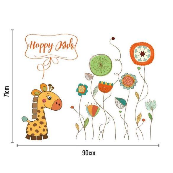 Zsiráf absztrakt virágmezőn