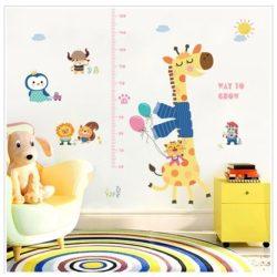 Zsiráf és barátai magasságmérős falmatrica