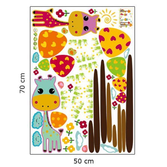 Zsiráfok és óriásgombák falmatrica