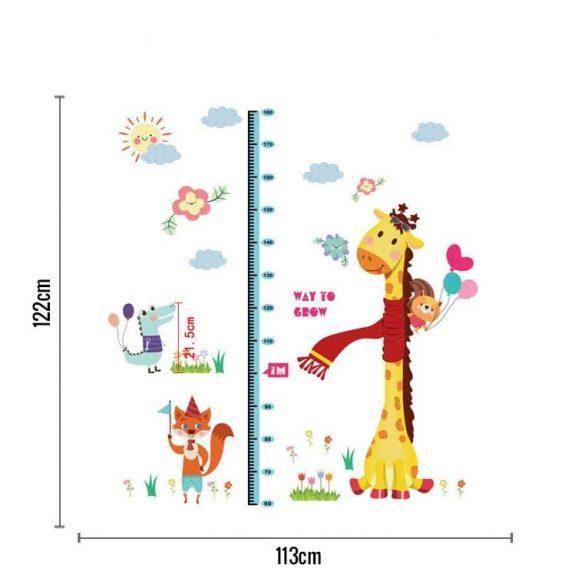 Zsiráf rókával, krokodillal magasságmérő